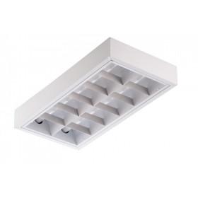 Люминесцентный светильник потолочный накладной Technoluх TL 2x18 с белой решеткой